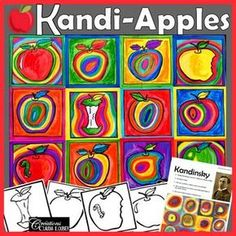 Back to School Art Project : Kandi-Apples : In the Style of Kandinsky - Kunstunterricht Kindergarten Art Lessons, Art Lessons For Kids, Art Lessons Elementary, Art For Kids, Apple Art Projects, Fall Art Projects, School Art Projects, Line Art Projects, Art 2nd Grade