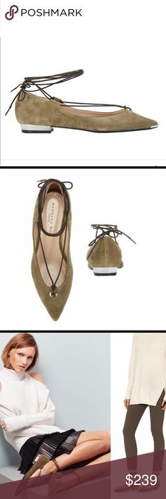 Barbara Bui Ankle Tie Suede Pointy Toe Flat: Green A single grommet details the front with the beginning of the rope cord self ties that wrap around the ankle. Silver-tone metal trim at pointy toe and flat sole. In olive green suede. Made in Italy. Barbara Bui Shoes Flats & Loafers