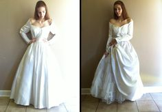 chic simple white ball gown wedding dress with off the shoulder sleeves- SALE. $220,00, via Etsy.