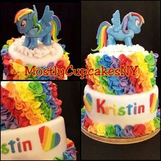 Rainbow dash cake. My little pony cake.  Rainbow. Ruffle cake. Colorful.
