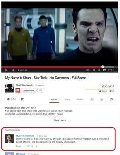 So I was on YouTube, watching Star Trek stuff and saw this. BEST COMMENT EVER. This totally made my day.  #Cumberbatched