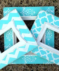set of three distressed frames chevron, moroccan, & damask in tiffany blue and heirloom--5x7(2), 8x10