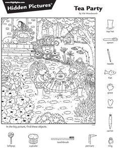 Suchbilder Hidden Picture Games, Hidden Picture Puzzles, Free Adult Coloring Pages, Coloring For Kids, Coloring Books, Hidden Object Puzzles, Hidden Objects, Easter Worksheets, Worksheets For Kids