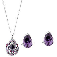Leuke Alloy Platinum Plated met strass En zirconia bruiloft sieraden set inclusief ketting, oorbellen – EUR € 20.62