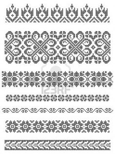 set of borders, embroidery cross, floral motifs Stock Photo