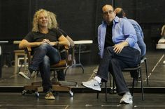 David Bryan, composer and lyricist, left, and director Christopher Ashley watch a rehearsal for Chasing the Song at the La Jolla Playhouse. — K.C. Alfred. #davidbryan