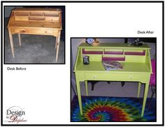 Fun desk make over.  Love using unexpected fun colors.