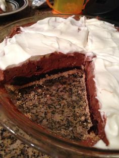 Holly's Healthy Home Cooking: Chocolate (peanut butter) pie -- 188 calories per serving Low Fat Desserts, Easy Summer Desserts, Light Desserts, Mini Desserts, Just Desserts, Pb2 Recipes, Snack Recipes, Dessert Recipes, Skinny Recipes