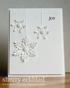 snowflakes die cuts with scored hangers and pearl jewels/bling