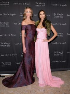 Julie Henderson and Teresa Moore arrive at the School of American Ballet Winter Ball at Lincoln Center on March 3rd 2014 wearing J. Mendel.