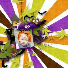 A precious page made with  #Cute #Monsters bundle by #eqrAveziur and Designs by #Brigit.  All the adorable masters of Halloween gather together to create this Spook-a-licious Halloween collection.