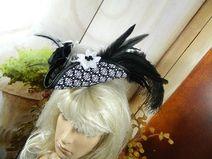 Mini Dreispitz schwarz weiß Marie Antoinette Hut