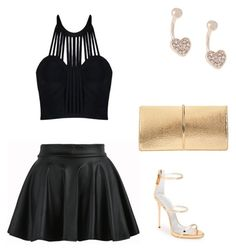"""Birthday party outfits"" by nonacila on Polyvore featuring Lipsy, Giuseppe Zanotti, Posh Girl and Nina Ricci #flare #skirt #outfit #birthday #party #outfits #daily #ootd #ideas #crop #top #black #gold #heels #purse"