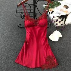 a8ef9d9926 Women s Sexy Lingerie Silk Nightgown Summer Dress Lace Night Dress Sleepwear