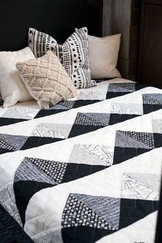 Alternating rows of mountain peaks make for a stunning and quick bed quilt. 72″ x 90″ quilt Designed by: Daisy Aschehoug Materials Needed: -1 yard each of Dark A, Dark B, Light …