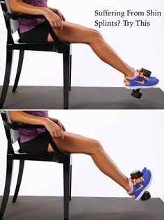 Place a two- to six-pound dumbbell vertically in between your feet, squeezing the weight gently to keep it in place. Begin by pointing your toes toward the floor. Then flex your feet and lift your toes as high as you can. This is one repetition. Complete three sets of 12 reps, stretching your shins