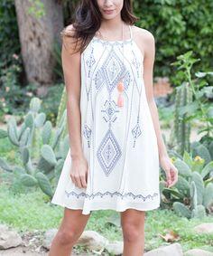 Pinkblush Cream Tribal Embroidered Silk-Blend Shift Dress   zulily