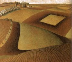Happy birthday to Grant Wood Here you see a great example of Wood's interest in, and importance to, the Regionalism art movement. What other painting garnered Wood success as a cultural. Oil Painting Pictures, Paintings I Love, Pictures To Paint, Painting On Wood, Wood Paintings, Wood Artwork, Grant Wood, Iowa, Artist Grants