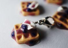 Blueberry Waffle Charm, Miniature Food Jewelry, Polymer Clay Food Charm. $7.00, via Etsy.
