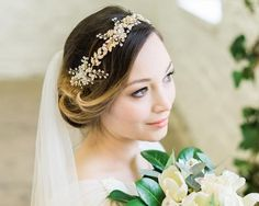 Gold Leaf, Pearl and Crystal Hair Vine, Anna 1 Spring Wedding Inspiration, Hair Inspiration, Bridesmaid Hair Side, Gold Headpiece, Wedding Hairstyles With Veil, Wedding Hair Accessories, Gold Accessories, Loose Curls, Pearl Hair
