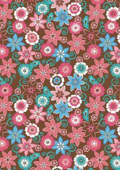 Brown and pink floral scrapbook paper (cliquer au dessus de l'image pour ouvrir PDF)