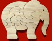 Items op Etsy die op Elephant With Calf - Childrens Wood Puzzle Game - New Toy - Hand-Made - Child-Safe lijken