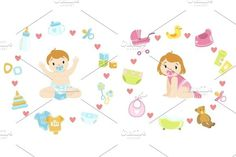 Baby Boy and girl Surrounded With Object It Needs. Water Infographic