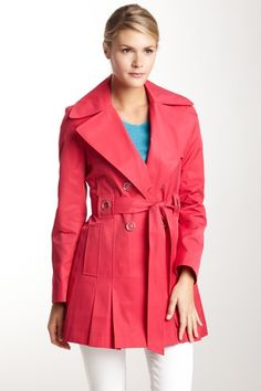 Via Spiga Solid Pleated Trench Coat