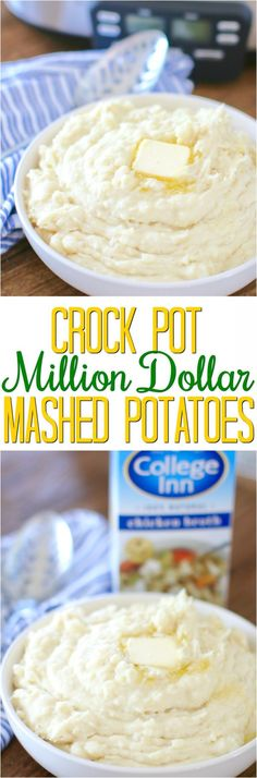 Crock Pot Million Dollar Mashed Potatoes with #CollegeInnBroth recipe from The Country Cook #ad #PourLoveIn #recipe #slowcooker #potatoes #sidedish
