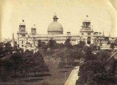 The Garden Palace was situated just south of the present Conservatorium of Music and was built for the Sydney International Exhibition which opened on 17 September 1879.  The Garden Palace, destroyed by fire. The gates are still there, Macquarie St entry to the Royal Botanical Gardens.