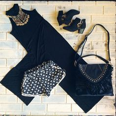 NEW Piper Halter Tank/Dress | Also featuring our Sayuri Shorts • Cut Out Buckle Boots • Cleo Necklace • Lanie Fringe Bag