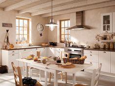 50 cuisines style campagne, avec meubles de cuisine esprit campagne et matériaux bruts typiques des cuisine à l'ancienne comme à la campagne.