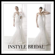 Pronovias Lace fishtail dress available at InStyle Bridal. #inStyle #bridal