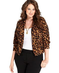 Debbie Morgan Plus Size Jacket, Animal-Print Open-Front - Plus Size Jackets & Blazers - Plus Sizes - Macy's