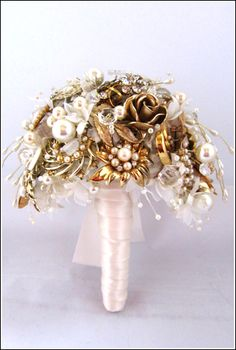Vintage Brooch Wedding Bouquets by DC Bouquets