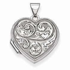 14k White Gold Scrolled Love You Always Heart Locket, Best Quality Free Gift Box Satisfaction Guaranteed