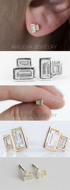 geometric diamond earrings, baguette minimalistic earrings by Anueva Jewelry