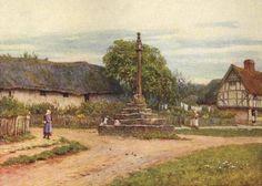 The Market Cross, Hagbourne ~ Helen Allingham ~ (English: 1848-1926)