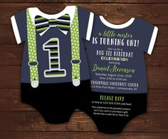 10 Bow tie First Birthday Invitations Navy by LittleBeesGraphics