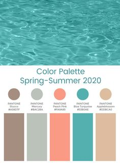 The key color palette takes on a tougher direction for the season as sharper greens and denser red tones come into play Summer Color Palettes, Spring Color Palette, Colour Pallete, Summer Colors, Colour Schemes, Color Trends, Color Combos, House Color Palettes, Pantone Turquoise