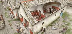 Reconstruction of a shop outside Housesteads Roman Fort (© English Heritage (drawing by Peter Urmston))