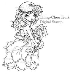 Sole - Download immediato di timbro digitale / girasole ragazza Lil Sweetie Mia di Ching-Chou Kuik
