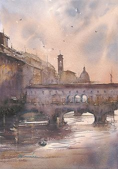 Sunset, Florence, Italy II by Keiko Tanabe Watercolor ~ 19 x 13 inches (48 x 33 cm)