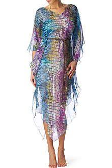 MATTHEW WILLIAMSON Digital Alligator silk kaftan dress