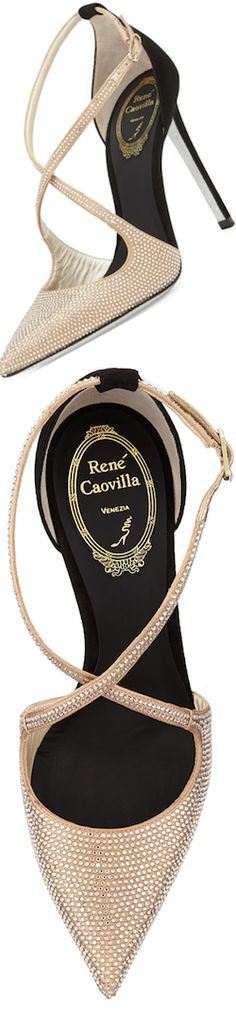 Rene Caovilla Crystal Cross Strap D'Orsay pump | LOLO