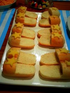 "For slumber party food.Supermarket -bought bread long roll that I cut into the shape of slippers and put the "" star cheese "" for the decoration.It's very easy and fun to make and the kids will love it."