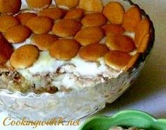 Banana Pudding just like Grandma use to make.  The pudding is rich and creamy poured over layers of sliced bananas and vanilla wafers.