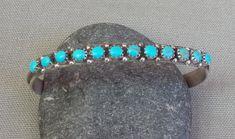 Vintage Sterling Silver Snake Eye Turquoise Row Cuff Bracelet   eBay