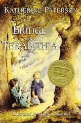 """""""Bridge to Terabithia"""" by Katherine Patterson. Newberry Medal. Contemporary realistic fiction. Kids would have to use their imagination while reading this book. It is a wonderful book to have students read."""