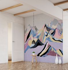 The mural is very recommended decoration for your living room. You don't need any other decoration beside them. Moreover, the mural will attract your guests and make you proud. Artistic Wallpaper, Kids Wallpaper, Nature Wallpaper, Mural Art, Wall Murals, Wall Art, Mountain Mural, Mountain Wallpaper, Tattoo Studio